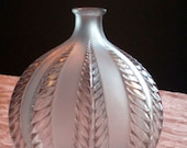 Rene Lalique France opalescent with sepia staining Malines glass vase Vintage 1924