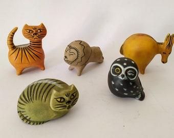 Lot 5 animals in vintage midcentury ceramic design Baca Caltagirone owl lion lion donkey Lisa Larson style bitossi was figur