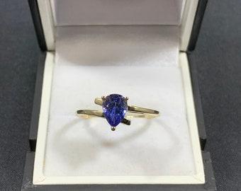 women ring Size N Tanzanite ring gold 5pcs natural Tanzanite 9ct gold ring