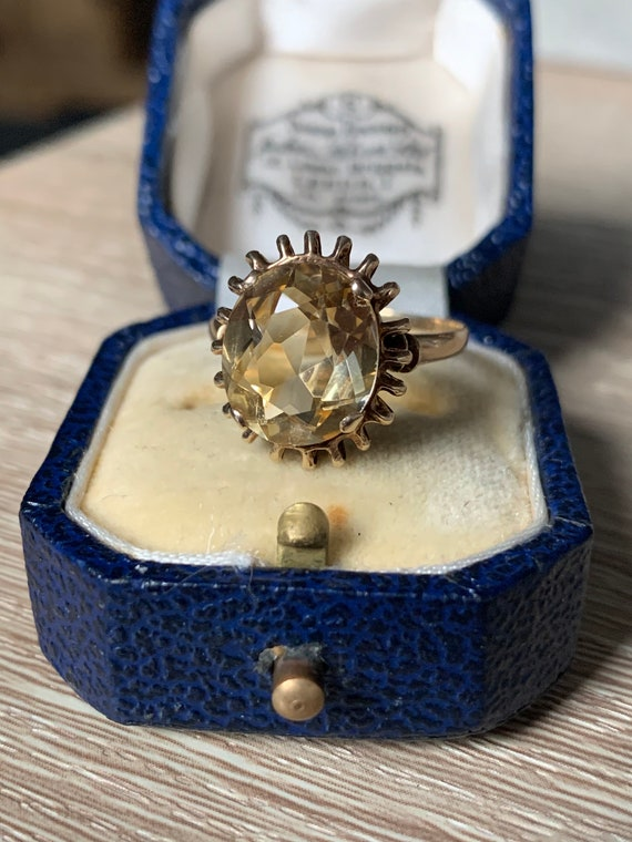 Vintage 9ct gold citrine ring