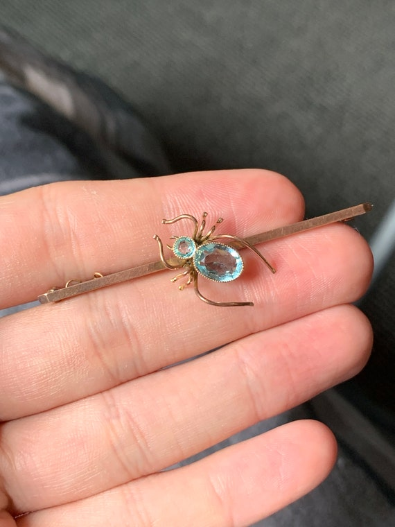 Antique 9ct gold paste spider brooch
