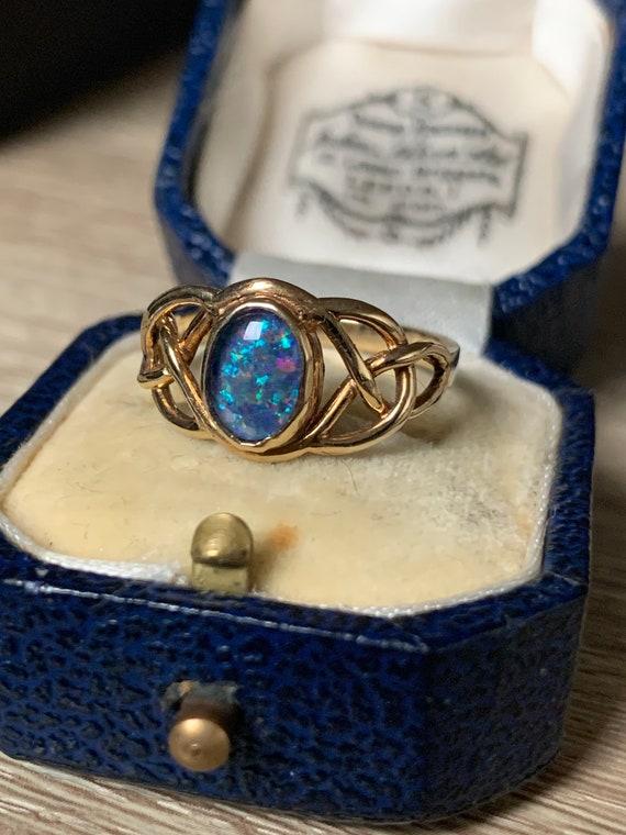 Stunning 9ct gold black opal ring