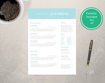 One Page Resume Template CV Template Cover Letter Modern   Etsy