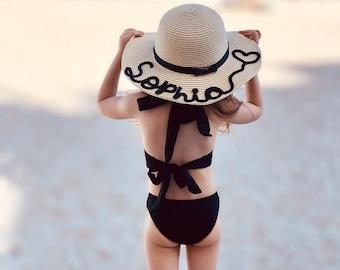 Toddler Straw Hat, Custom Handwriting Beach Straw Hat, Kids Beach Hat, Personalized Girls Floppy Sun Hat, Custom Straw Hat, Birthday Gift