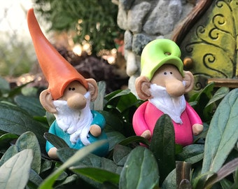 SET OF 2 FAIRY GARDEN MINIATURE GNOMES ONE IS FISHING AND THE OTHER DIGGING