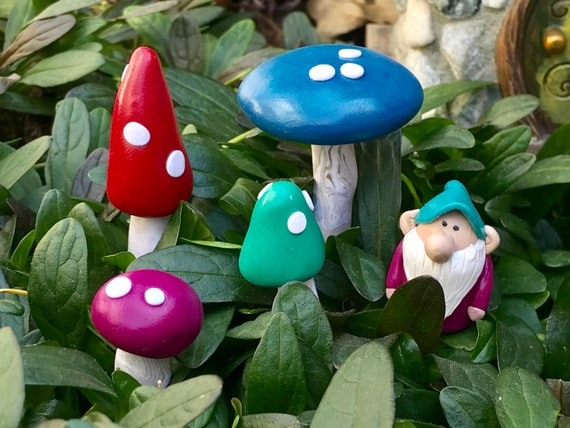 5 For 8 Fairy Garden Mushrooms And Flower Pot Decorations Etsy