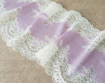 "Pink Stretch Lace Trim, Elastic Lace Fabric, Wedding Lingerie Lace width 21.9 cm / 8.6"", Nr 365"