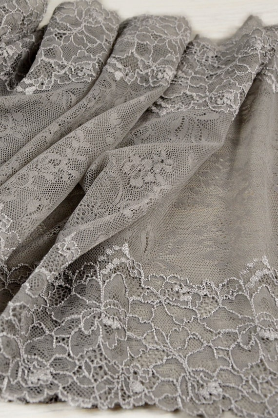"""2 METRES White Extra Wide Ditsy Floral Stretch Lace Trim 7/""""//18cm TOP SELLER"""