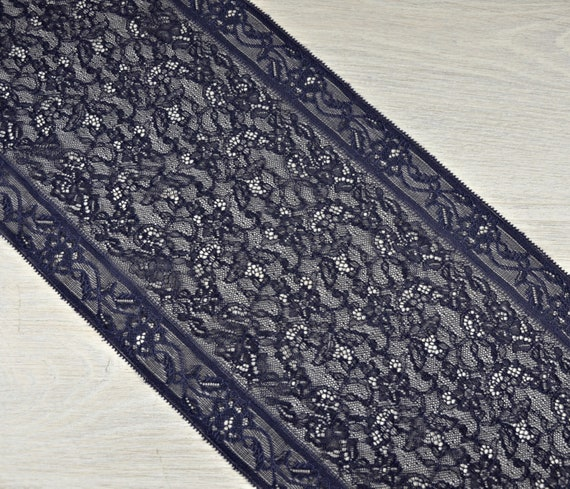 """~Navy Blue Wide Delicate Lace 6.5/""""//16.5cm Craft Table Runner"""