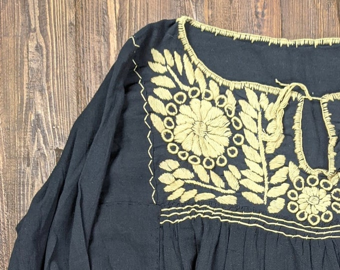 Hand embroidered black blouse with Mexican indigenous design