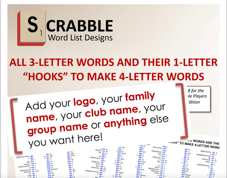 CUSTOMIZED FOR YOU -- Scrabble Word List Cheat Sheet: 3 letters words and  their