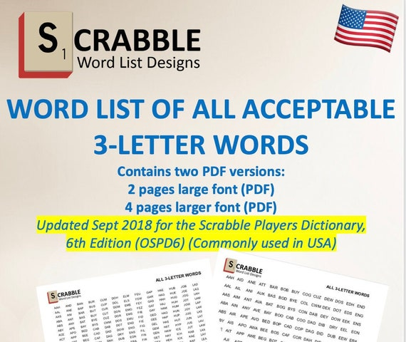 Pdf Scrabble Word List Cheat Sheet Acceptable 3 Letter Words Etsy