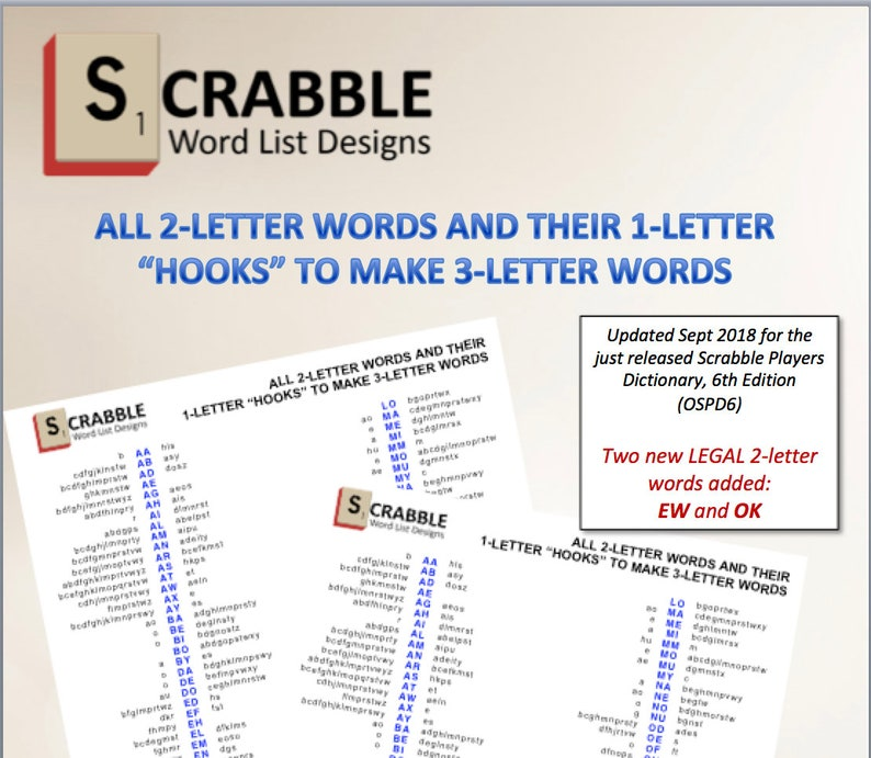 PDF Scrabble Word List Cheat Sheet: 2 letters words and their
