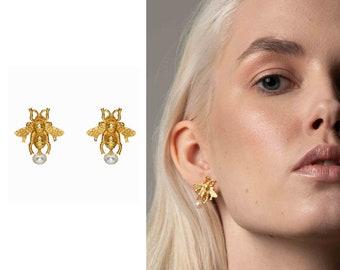 92670a67e9d Gucci Bee Earrings Honey Bee Dior Earrings Small Solid Studs Insect Jewelry  Trendy Earrings Pearl Earrings