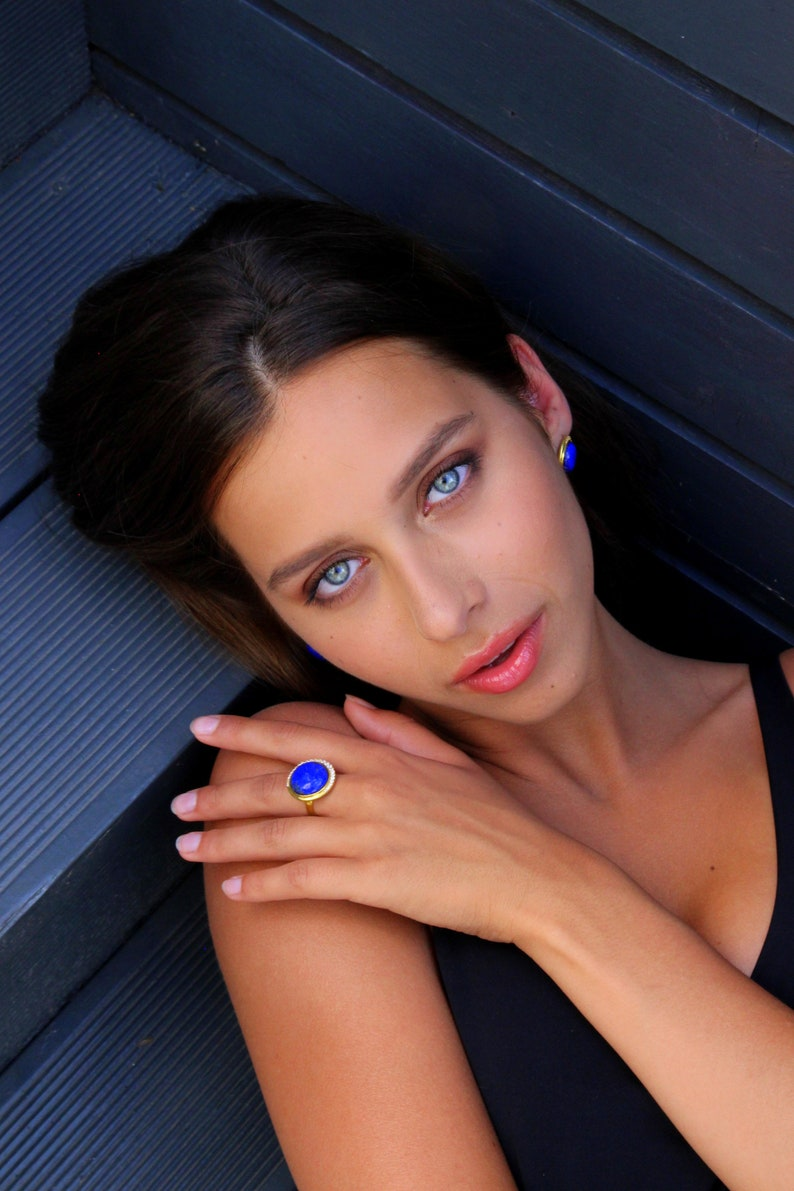 Gemstone Fine Jewelry Statement Vermeil Gold Diamond Round Stud Earrings Party Elegant Natural Lapis Lazuli Gold Stud Earrings