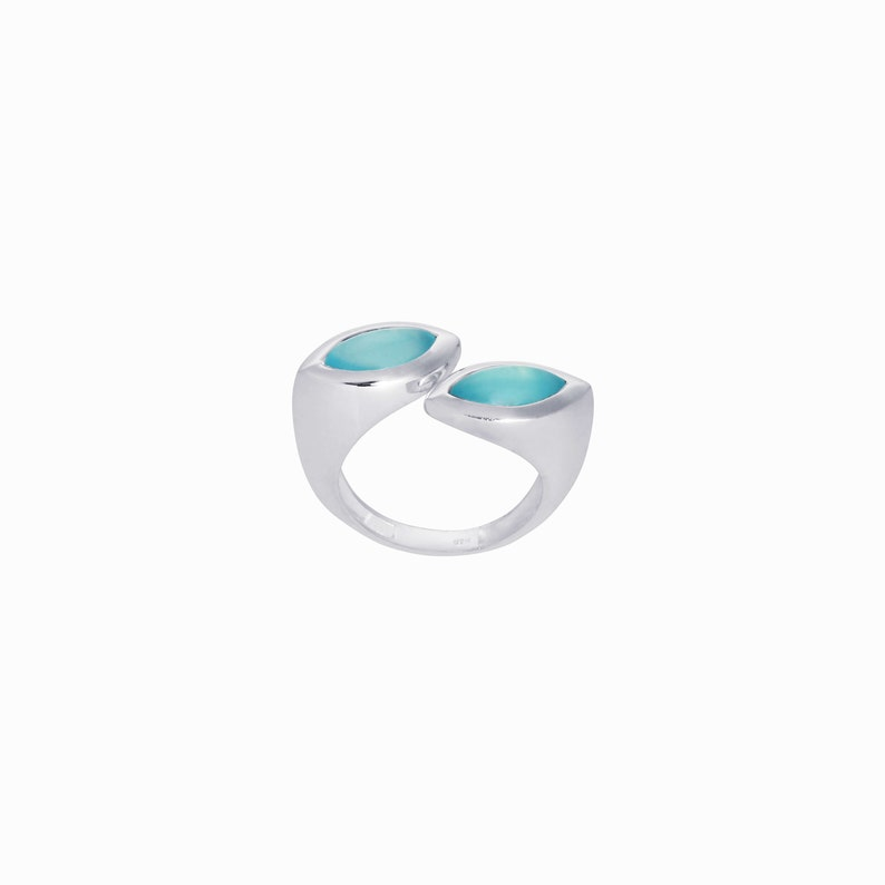 Dual 2 Stone Open Silver Ring Natural Blue Aqua Chalcedony Gemstone Modern Statement Contemporary Jewellery Geometric Abstract Edgy Organic