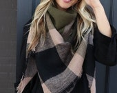 Olive Black SQUARE Plaid Blanket Scarf, Winter scarf, Blanket Scarf women, Bridesmaid Scarf, best selling items, gift for her