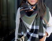 Olive Green SQUARE Plaid Blanket Scarf, Winter scarf, Blanket Scarf women, Bridesmaid Scarf, best selling items, gift for her