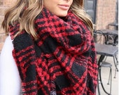 Red Black SQUARE Plaid Blanket Scarf, Winter scarf, Blanket Scarf women, Bridesmaid Scarf, best selling items, gift for her