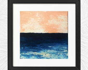 Beach Sunset Ocean Painting Mixed Media Acrylic Canvas Original Art 2.5 x 3.5