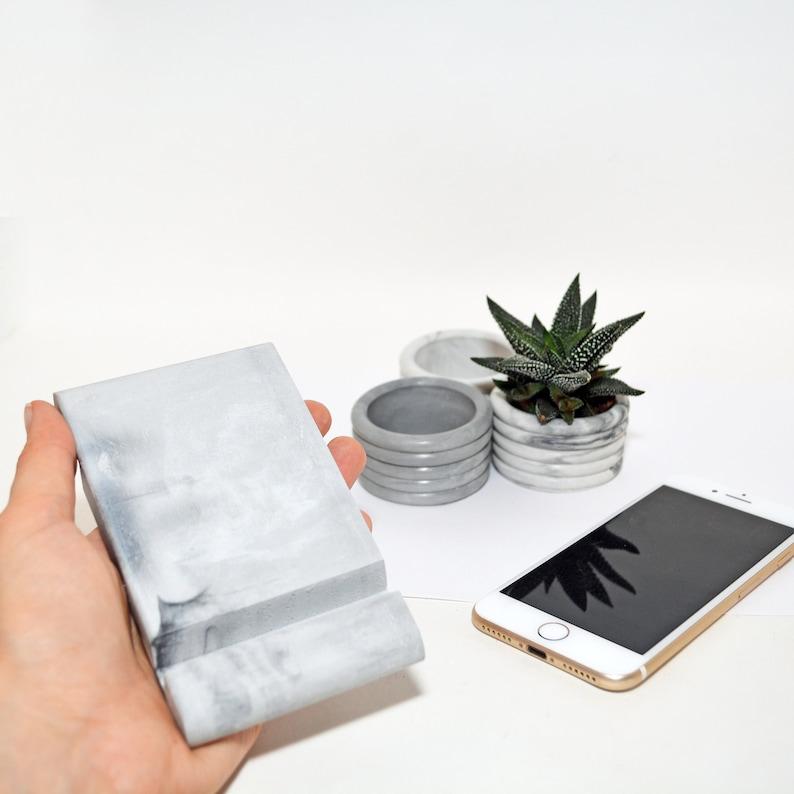 Schreibtisch Telefonständer Beton Marmor Visitenkartenhalter Stein Iphone Halter Smartphone Ständer