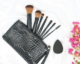 Vegan Makeup Brushes • Travel Size • Brown Vegan Faux | Ana Carttori New York