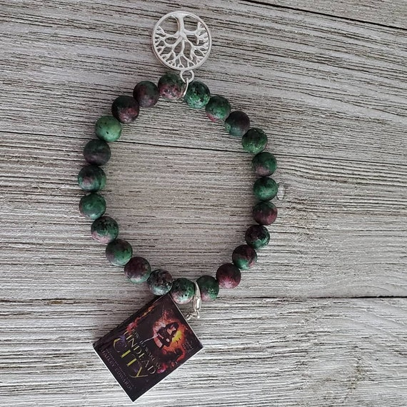 Tree of Life Stretchy Gemstone Bracelet (GREEN) with Book Charm
