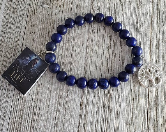 Tree of Life Stretchy Gemstone Bracelet (BLUE) with Book Charm