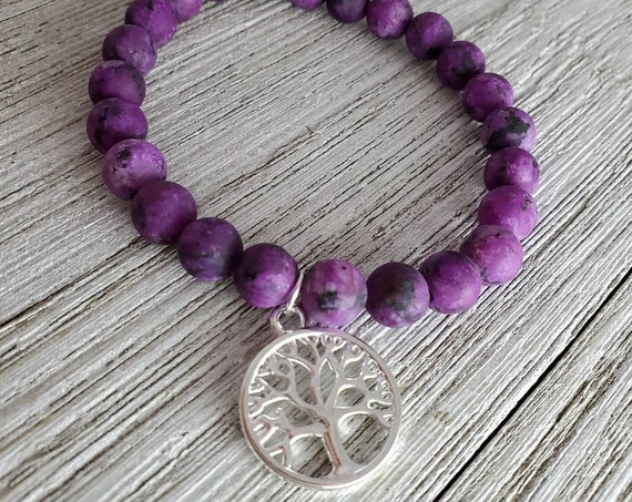 Tree of Life Stretchy Gemstone Bracelet (PURPLE)