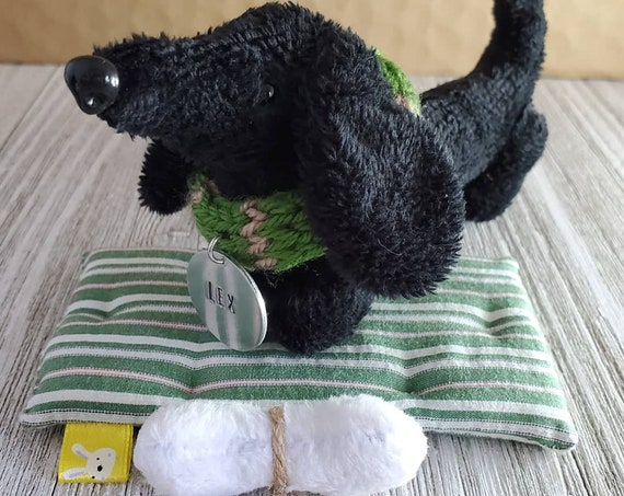 Poseable Black Dog Handmade Plush