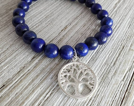 Tree of Life Stretchy Gemstone Bracelet (BLUE)