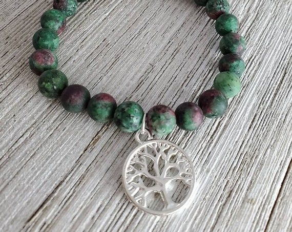 Tree of Life Stretchy Gemstone Bracelet (GREEN)