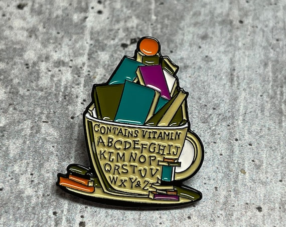 Cup of Books Metal Pin