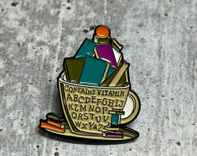Cup of Books Metal Pin