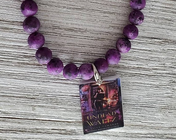 Tree of Life Stretchy Gemstone Bracelet (PURPLE) with Book Charm