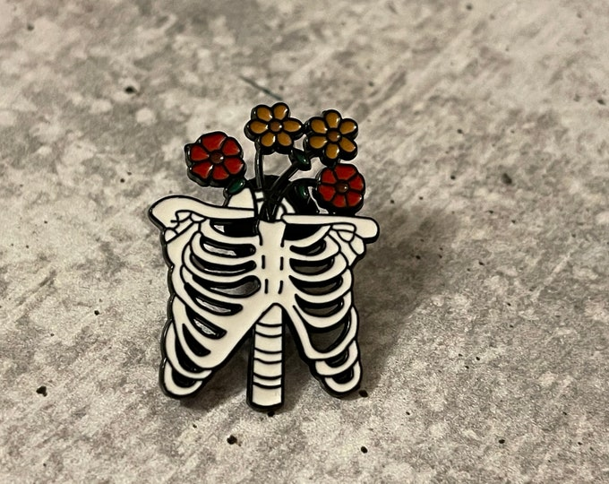 Ribs & Flowers Metal Pin