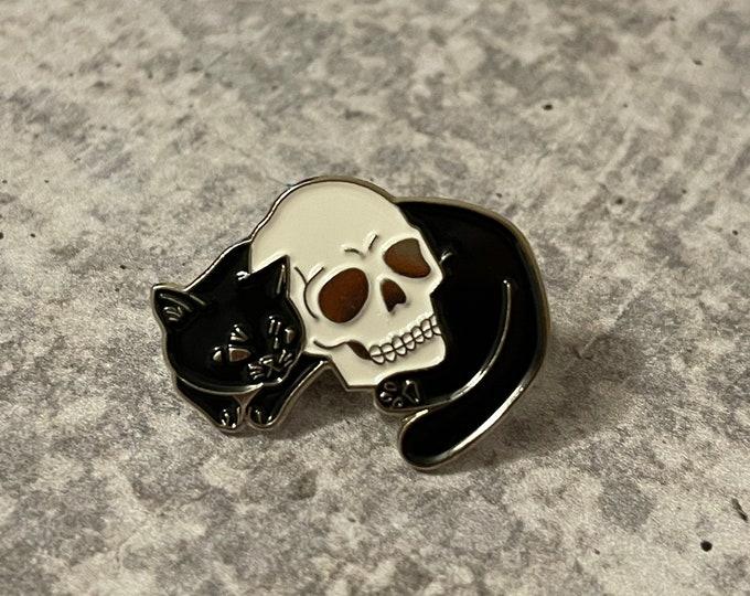 Black Cat & Skull with Gold Trim Metal Pin