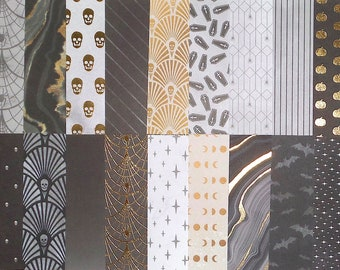 Nature Scene 16 pcs of Single-Sided PAPER Scrapbooking Gold Foil Ephemera Junk Journaling Card Tag Making Feather Floral
