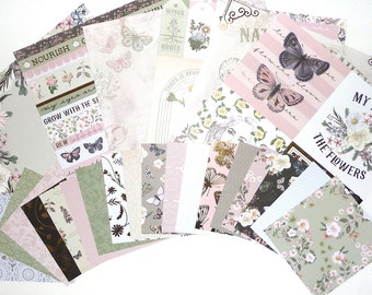 Floral 16 pcs 6X6 Spring Posies CARDSTOCK Gold Foil Butterfly Blossom