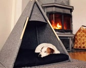 Dog Teepee bed puppy tent Gray Blacksoft eco friendly felt of a strong form cozy place to relax Set with soft pillow Pets Bed For dog cats