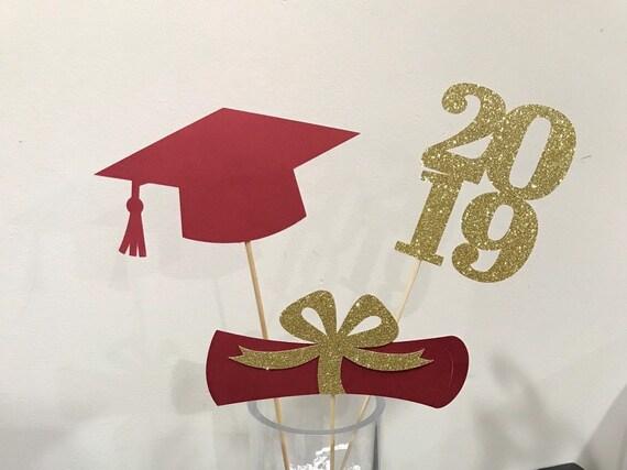 Graduation Centerpieces 2020.Graduation Party Decorations 2020 Graduation Centerpiece Grad Cap Diploma Class Of 2020 Graduation Decorations Red Gold Prom 2020
