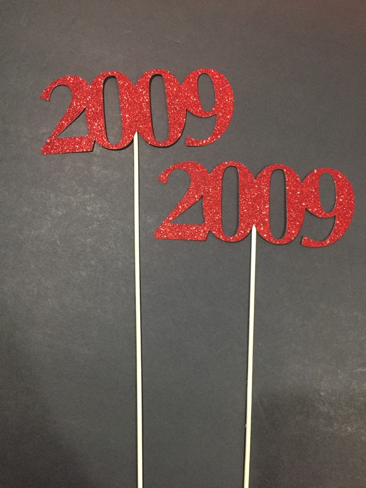 10th Celebration 10 years class Anniversary Set of 3 sticks Class Reunion Decoration Centerpieces 2009 Class Reunion Centerpiece