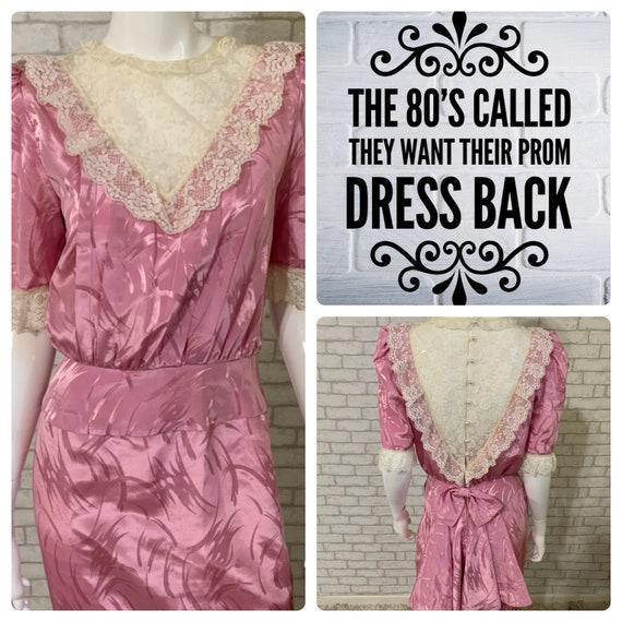 Vintage 1980's mauve bustle/bow/lace prom dress -
