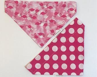 Reversible Coral Flamingos /& Mint Polka Dots Dog Bandana