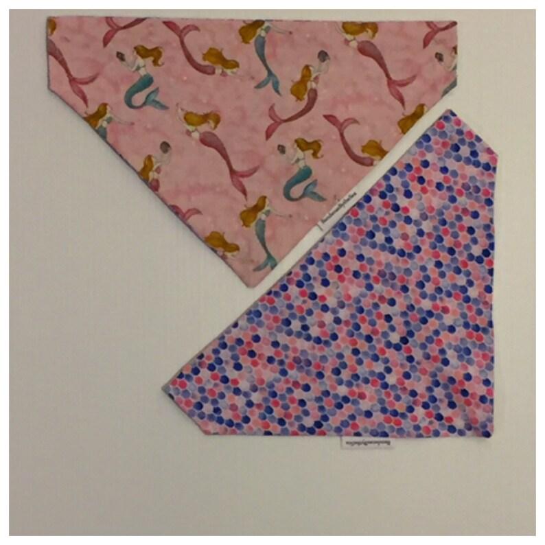 Pink Sea Mermaids Reversible Over the Collar Dog Bandana mermaids shells scales pink teal blue