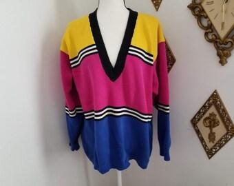 Retro Women s Multi-Colored Over-sized Sweater Size Small 62dedb13c