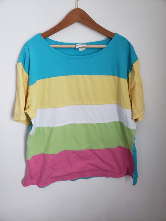 90's Multi Color Striped Women's Top Size Large, Multi Color Striped Top, 90's Style Top