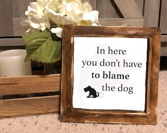 66ce1ce541 Bathroom dog sign, funny dog fart sign, farmhouse style sign