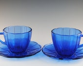 Two Cups and Two Saucers Newport Cobalt Blue Hairpin Depression Glass, Hazel-Atlas, Vintage