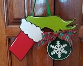 Grinch Arm Door Hanger, Grinch Decor, Grinch Door Hanger, Christmas Door Hanger, Christmas Decor, Holiday Decor, Holiday Door Hanger